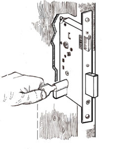 Mortice lock in door